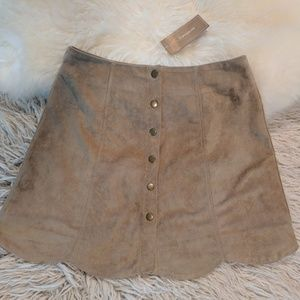 Francesca's Button Front Faux Suede Skirt